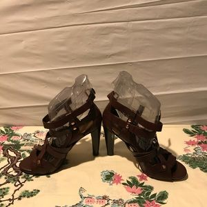 Vince Camuto all leather high sandals booties .